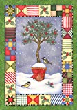 Toland Home Garden Holly Topiary 12.5 x 18 Inch Decorative Colorful Winter Holiday Tree Bird Quilt Design Garden Flag