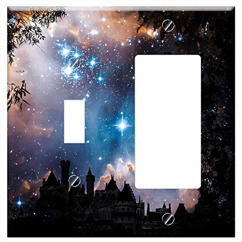 (1-Toggle 1-Rocker/GFCI Combination Wall Plate Cover - Night Sky Star Rally Trees Landscape Castle )