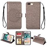 iPhone 8 7 Plus Case, PU Leather TPU Wallet Flip Cases, Magnetic Stand Card Slots Embossed Mandala (iPhone 8 7 Plus, Khaki)