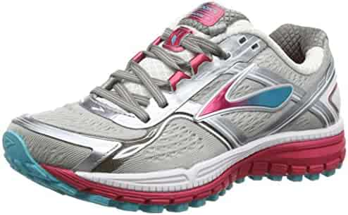Brooks Women's Ghost 8 Shoes Metallic Charcoal / Bright Rose
