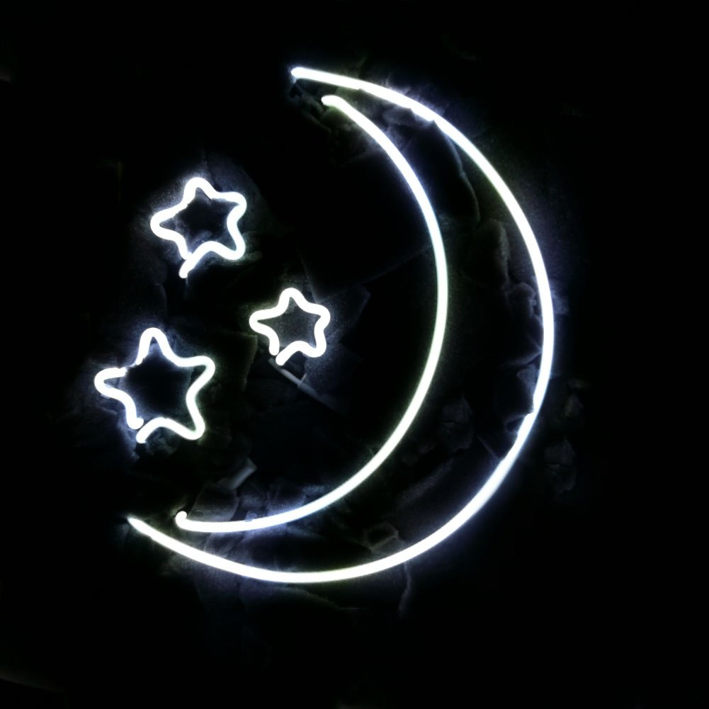 Mugua MOON AND STARS Beer Neon Sign 15'' x 15'' for Home Bedroom Pub Hotel Beach Recreational Game Room Decor Garage Wall Sign