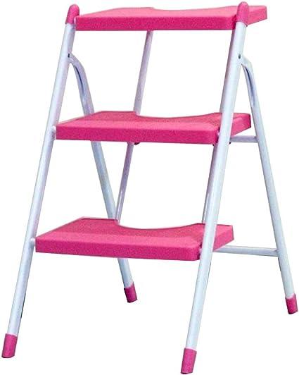 Taburete de escalera multifunción, 3 pasos, antideslizante, escalera, plástico, para cocina, baño, retaburete familiar, color negro, azul, rosa, blanco, rosa: Amazon.es: Oficina y papelería