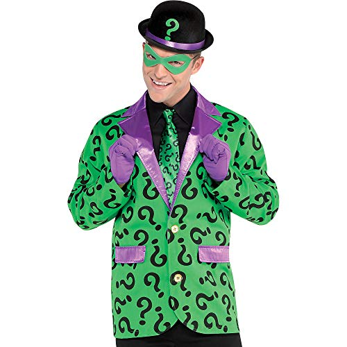 Riddler Halloween Costume For Adults (SUIT YOURSELF Batman Riddler Jacket for Adults, One Size up to Men's Size 40-42, Features a Purple Lapel and)