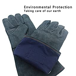 OZERO Welding Gloves, Good for Barbecue/Tig Welders/Mig/Fireplace/Stove/Pot Holder/Gardening - Cotton Lining with Extra Long Sleeve Heat Resistant Gloves - 16 inches - Gray