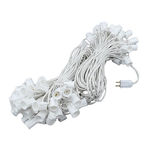 Novelty Lights 200 Foot C9 Outdoor String Light Christmas Stringer - Patio String Lights - Intermediate Base (C9/E17) - 24 Spacing - White Wire
