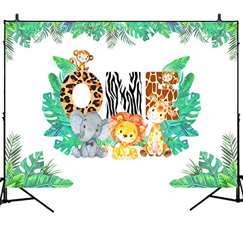 Mehofoto Jungle Theme Background 1st Birthday Backdrop Safari Animals Zoo Background for Boy 7x5ft Lion Giraffe Elephant Monkey, Animals Boy Baby First Birthday Party Banner Decorations