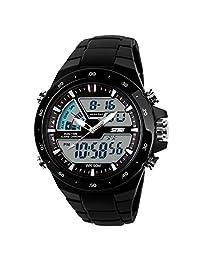 ufengke® fashion waterproof diving sports watch for men,boys children alarm luminous wrist watch,black