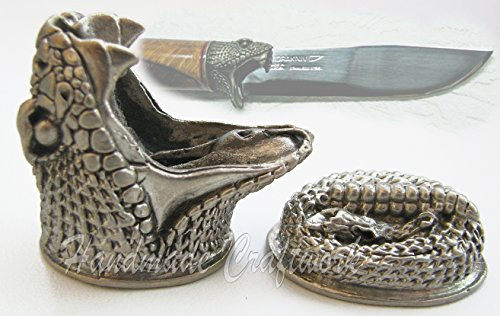 CooB Finger Guard Bolster & Knife Pommel Sets. Amazing Hand-Casted DIY Knives Guards and Pommels for Custom Handle Making. Made in Nickel Silver - Great Collection ANIMALS (Python - Animals Python
