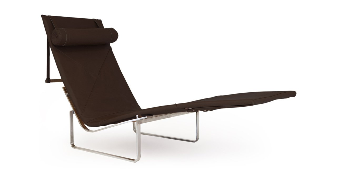 Kardiel PK24 Modern Chaise Lounge Chair - Coco Brown Aniline Leather-Stainless Steel