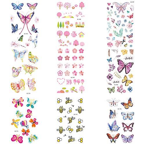 Etiqueta engomada del tatuaje para niños Dibujos animados Rosa ...