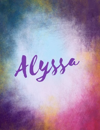 Alyssa: Alyssa sketchbook/ journal/ blank book. Large 8.5 x 11 Attractive bright watercolor wash purple pink orange & blue tones. arty stylish (Watercolor Wash)