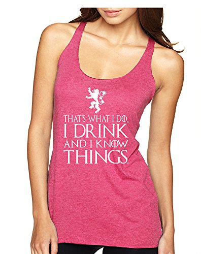 Allntrends Women's Tank Top That's What I Do I Drink And I Know Things Tyrion Top (M, Vintage Pink White)