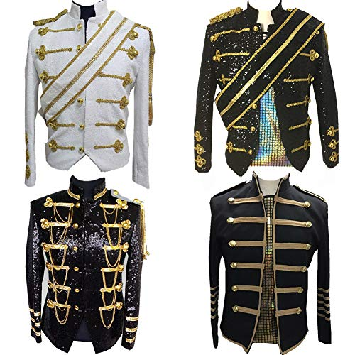 Mens Michael Jackson Jacket Suit Sequins Costumes Nightclub Bar Dress (l, black #2) -