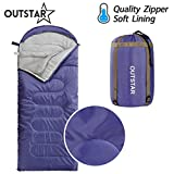 OUTSTAR Lightweight Waterproof Envelope Sleeping Bag With Compression Sack for Kids or Adults Outdoor Camping, Travelling, Hiking & Backpacking (Deep Blue, Envelope)