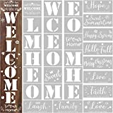 28 Pieces Reusable Large Stencils Templates Painting on Wood Stencils Vertical Welcome Stencil Plastic Symbolic Stencils Seasonal Word Sign Templates for Front Door Rustic Home Porch DIY Decor