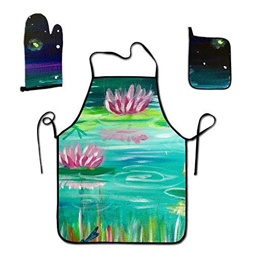 FEDDIY Kitchen Gift Set-1 Kitchen Apron, an Oven Mitt, A Pot Holder-Ideal Cooking Gifts or Gift Ideas for Chefs (Lotus Moonlight Summer)