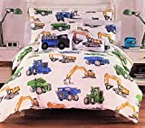 Boy Zone 5-Piece Full/Queen Comforter Set Featuring Construction Trucks and Vehicles | All Season | 100% Easy Care Polyester