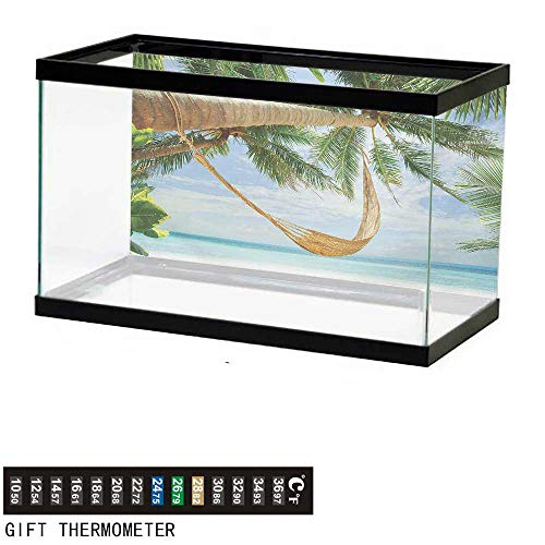 Aquarium Background,Beach,View of Nice Hammock with Palms by The Ocean Sandy Shore Exotic Artsy Print,Green Cream Blue Fish Tank Backdrop 24