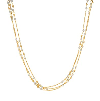 ff0f2902dbe Buy Jewel Planet of Gold Chain With Gold Beads & White Pearl of 1 ...