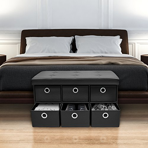 Sorbus Storage Ottoman Bench with 6 Drawers - Collapsible Folding Bench Chest with Cover - Perfect for Entryway, Bedroom, Cubby Drawer Footstool, Contemporary Faux Leather (Black)