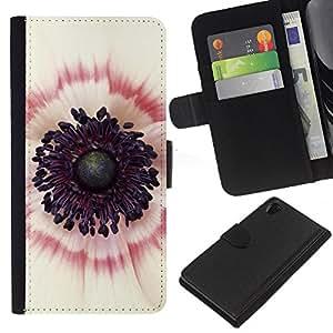 Dentro Blanco Rojo Flor Rosa- la tarjeta de Crédito Slots PU Funda de cuero Monedero caso cubierta de piel Para Sony Xperia Z2 D6502