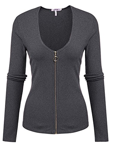 ANGVNS Womens V Neck Sleeve Fitted