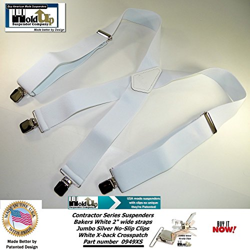 Contractor Series 2'' Wide Work X-back Suspenders in Bakers White with jumbo No-Slip Patented Clips by Hold-Up Suspender Co. (Image #1)