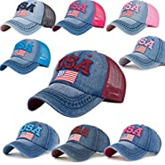 BCDshop Denim Baseball Cap Women Men USA Flag Print Snapback Adjustable Visor Cap Hat
