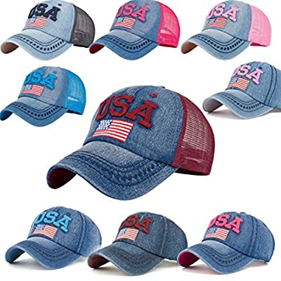 BCDshop Denim Baseball Cap Women Men USA Flag Print Snapback Adjustable Visor Cap Hat