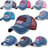 #2: BCDshop Denim Baseball Cap Women Men USA Flag Print Snapback Adjustable Visor Cap Hat