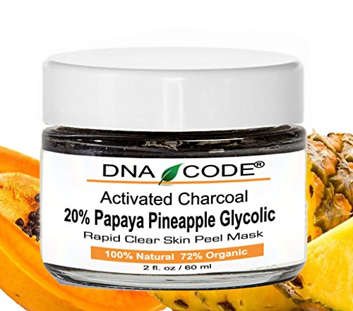 Activated Bamboo Charcoal Clear Skin Mask Peel 20% Papaya Pineapple Enzyme+Glycolic w/ Argireline, Hyluronic Acid, Vit. C, E, CoQ10. Natural/Organic 2 OZ ()