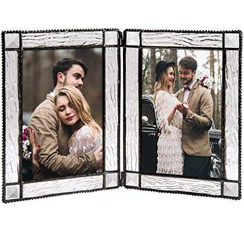 - J Devlin Pic 402-46-2 Double Hinged Clear Glass Tabletop Photo Frame Holds Two 4x6 Vertical Pictures