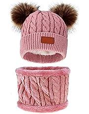 Jmkcoz Infant Toddler Winter Hat Scarf Set Double Pom Pom Knitted Beanies Cap Plush Lining Warm Pompom Knit Skiing Cap Hat for Baby Kids Girls Boys 6-36 Months Dark Pink