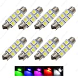 SAWE - 1.72' 42mm 6-SMD 5050 Festoon LED Bulbs For Dome Map Light 211-2 578 (8 pieces) (Blue)
