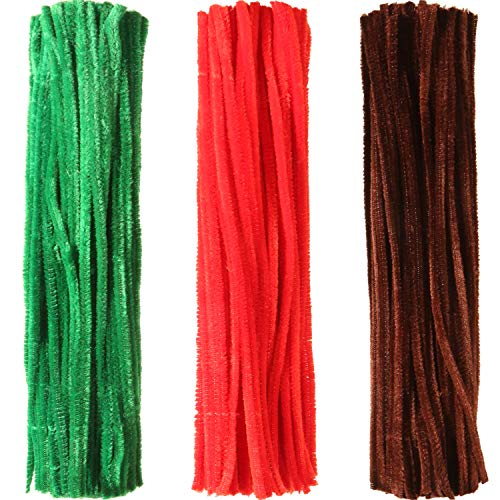 Sumind 300 Pieces Chenille Stems Pipe Cleaners Fluffy Sticks for Arts and Crafts Decoration, 6 by 300 mm (Brown, Red and Blue)