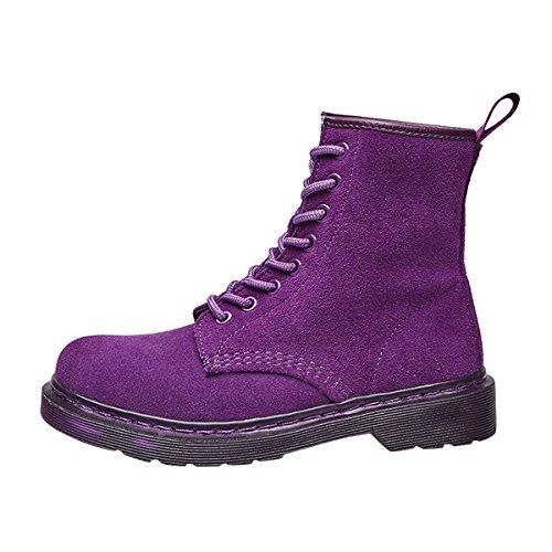 Suède Dames Enkellaarzen Vintage Combat Booties Platform Sneaker Schoenen Van Dear Time Purple