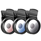 Neewer 3-Piece 37MM Cell Phone Camera Lens Filter Kit for iPhone Samsung Galaxy Windows and Android Smartphones - Graduate Blue Orange Gray Filter, Phone Clip, Cleaning Cloth Included