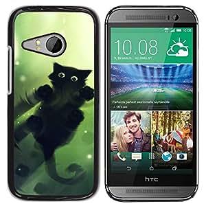 PC/Aluminum Funda Carcasa protectora para HTC ONE MINI 2 / M8 MINI Cool Cute Cat Water Mirror Reflection Black / JUSTGO PHONE PROTECTOR