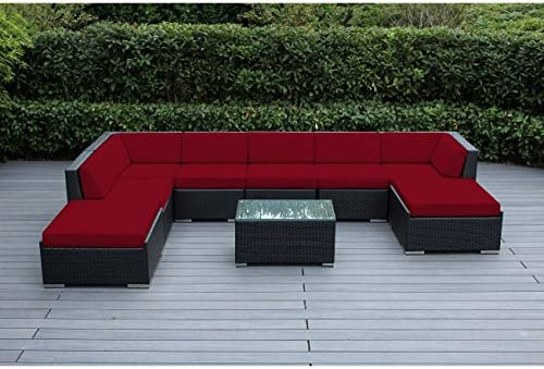 Ohana 9-Piece Outdoor Patio Furniture Sectional Conversation Set, Black Wicker with Red Cushions – No Assembly with Free Patio Cover