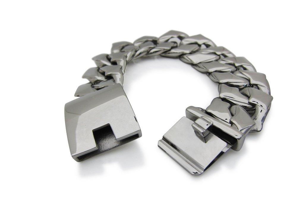 TheBikerMetal 170gram Curb Link Bracelet for 81 1%er Harley Motor Biker TB73