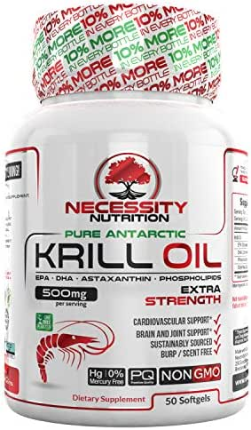 : Krill Oil Supplement Astaxanthin Capsules EPA DHA | Omega 3 Fatty Acids | Controls Cholesterol | Supports Cardiovascular Health | Reduces Inflammation | PMS Relief | 500mg - 50 Capsules