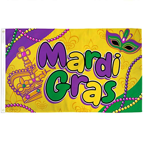 Best Flags Mardi Gras (Beads) 3x5ft Poly Seasonal Flag Multi