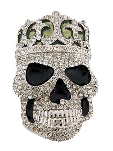 Letter Love Fashion Crowned Skull King Crystal Men'S Unisex Iced Out Bling Punk Belt Buckle Diamond (Diamond Skull Belts Clothing)