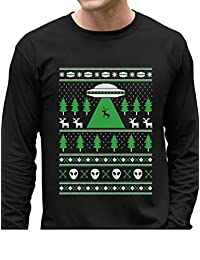 Tstars - Alien Reindeer Abduction Ugly Christmas Sweater Long Sleeve T-Shirt