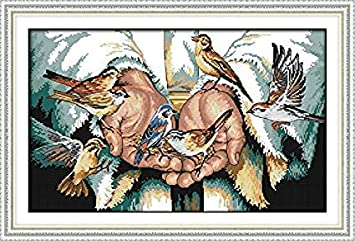 Preprinted Embroidery kit for Beginner Happy Forever Cross Stitch Kits 11CT Stamped Patterns for Kids and Adults R559 in The Hands, Size 22x15 Love Angels