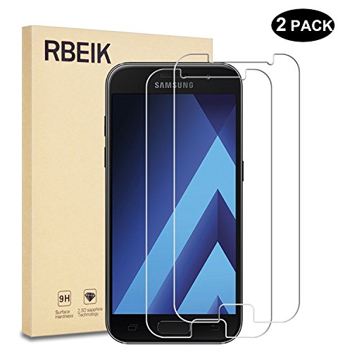 [2 Pack] Samsung Galaxy A3 2017 Screen Protector [Tempered Glass] - RBEIK Premium 9H Hardness Tempered Glass Screen Protector for Samsung Galaxy A3 2017 4.7-inch Smartphone with Anti-Scratch Feature
