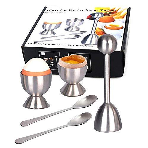 Egg Topper Set Egg Cutter Topper Set Egg Cracker for Hard & Soft Boiled Eggs Eggs Separator Tool Shell Remover & Cutter - Steel Spoon & Cup Holder (5)