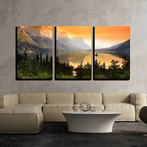wall26 - 3 Piece Canvas Wall Art - Wild Goose Island on Saint Mary Lake in Glacier National Park, Montana - Modern Home Decor Stretched and Framed Ready to Hang - 24