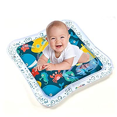 7Pcs Tummy Time Baby Water Mat and Bath Books Set, Inflatable Play Mat Water Cushion Infant Toys, Fun Early Development Activity Play Center for Toddlers Newborn Boys Girls : Baby