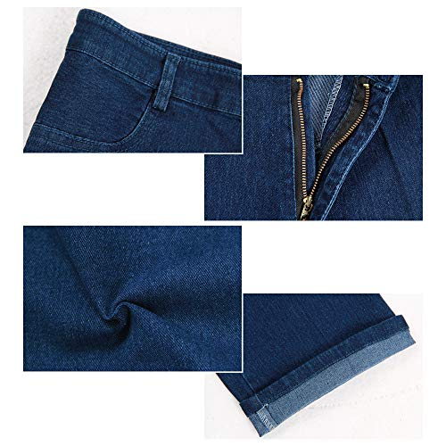 Gamba Jeans Donna Casual Blu Pantaloni Forti Taglie Vita Cerniera Dritta Elasticizzato Bozevon Alta dtqtv